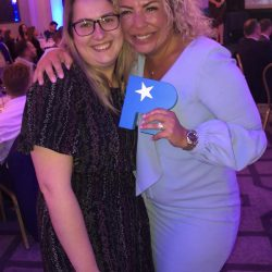 6CATS contractor services - Michelle Reilly with the TALiNT Recruitment Industry Supplier Award for Best Company for Contractor Services